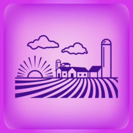 Farm products logo, Retro landscapes. Editable EPS10 vector illustration, Agriculture field.