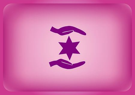 Star of David Jewish synagogue icon isolated on plain violet background