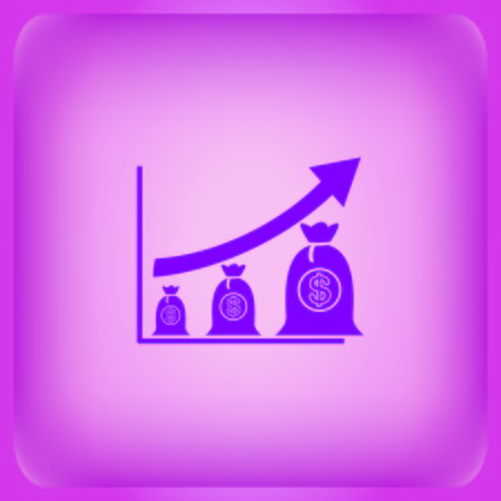 Diagram icon isolated on plain violet background