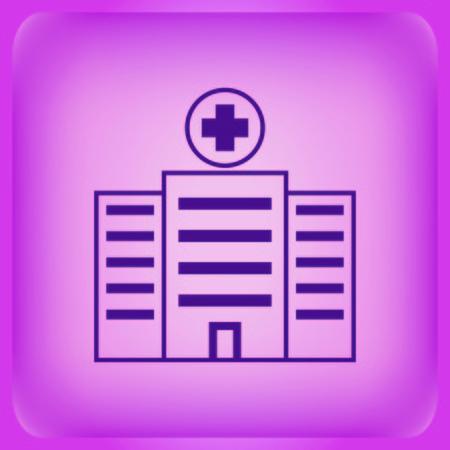 Hospital, polyclinic, ambulance icon isolated on plain violet background