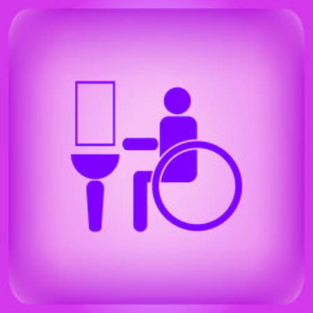Symbols inlet to the toilet icon isolated on plain violet background