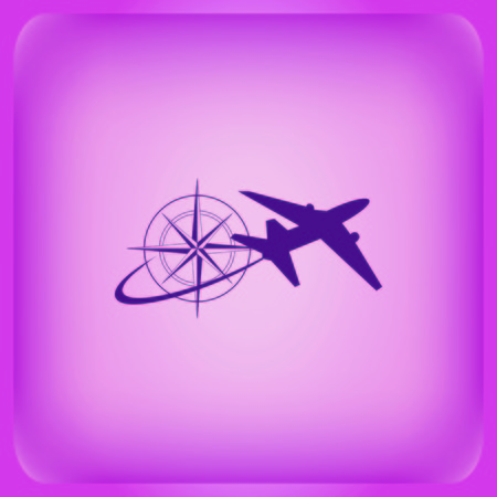 Aircraft icon Vector illustration on color background.