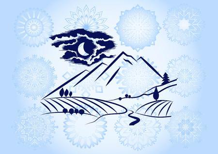 Mountain landscape. Camping icon. Vector Illustratie