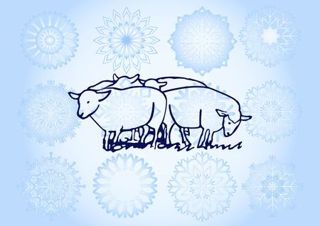 Vector illustration of a sheep. Flock of sheep. sheep logo. 矢量图像