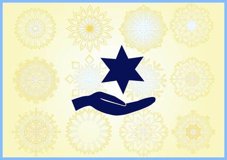 Star of David Jewish synagogue icon Vektorové ilustrace