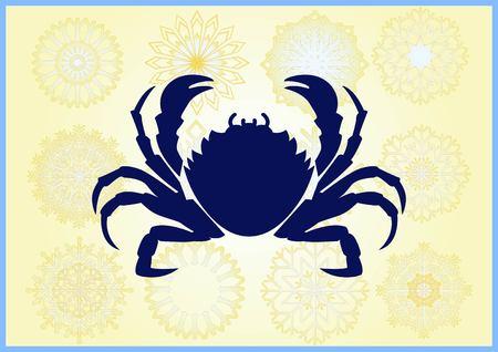 Ilustración de vector de un cangrejo. Logotipo, gráficos, mariscos. Reptil marino