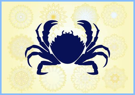 Vector illustration of a crab. Logo, graphics, seafood. Marine reptile.