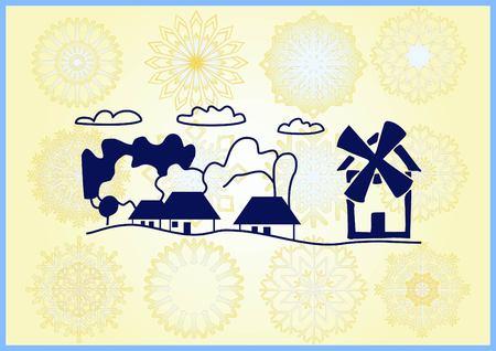 Retro landscapes. Editable EPS10 vector illustration, Agriculture field.
