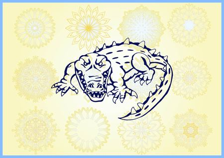 Vector illustration of the evil head, ferocious, aggressive crocodile. Predatory, dangerous beast. Angry alligator, caiman. Illustration
