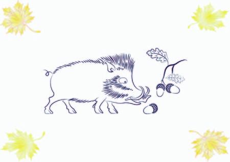Vector illustration of the evil head, ferocious, aggressive boar. Predatory, dangerous beast. Angry wild boar. piggy web icon.
