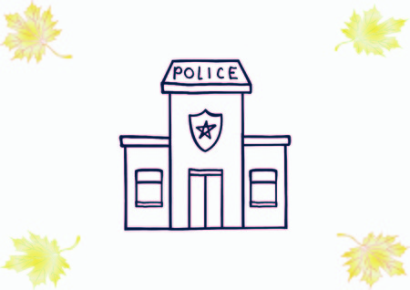 Police Station doodle. Vector illustration. 向量圖像