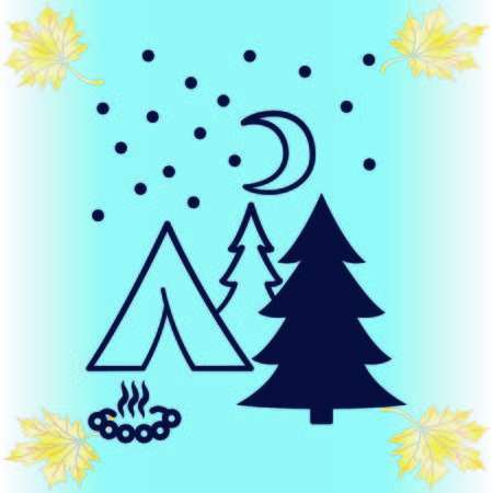 Mountain landscape. Camping icon.