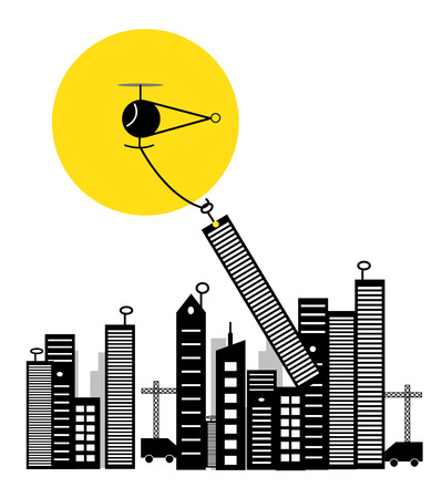 A Small Powerfull Cartoonist Copter Shifting The City By Lifting Building And Transporting Them To New Place  photo