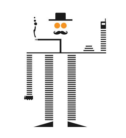 Old Muscular Robot Smoking Cigrette Vector