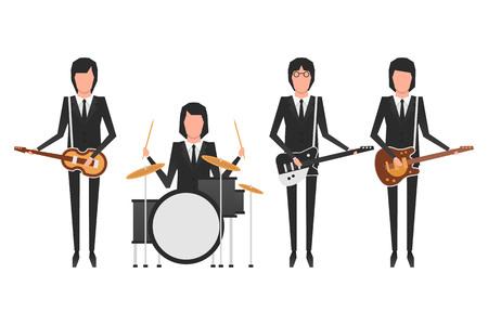 비틀즈 밴드 멤버의 사설 그림 일러스트