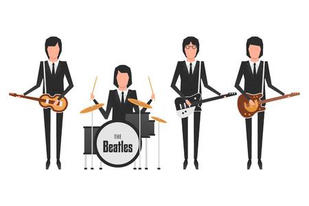 Illustrazione editoriale dei membri della band Beatles Archivio Fotografico - 80195208