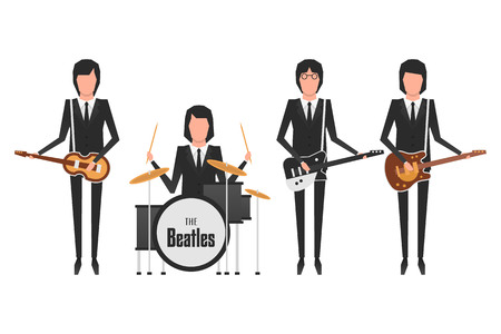 Editorial illustration of the Beatles band members