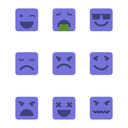 sick kind: Squared emoticons vector icons set.