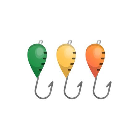 Vector illustrations set of fishhooks Illustration