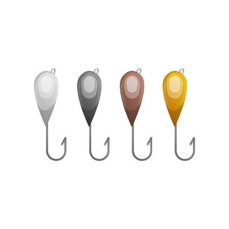 barbed: Vector illustrations set of fishhooks Illustration