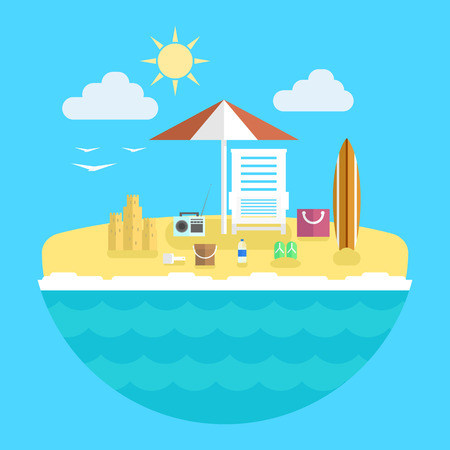Flat modern design vector illustration concept of planning a summer vacation, travel on holiday journey, tourism stuff.
