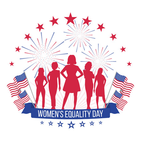 The equality day of women. Vector illustration on isolated white background
