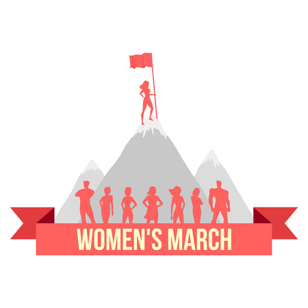 activist: The equality day of women. Vector illustration on isolated white background