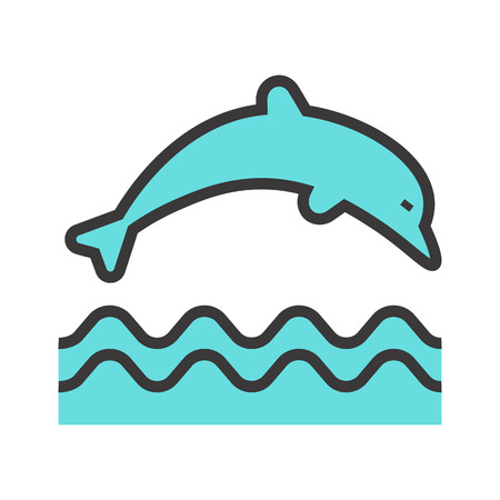 Jumping dolphin vector icon.