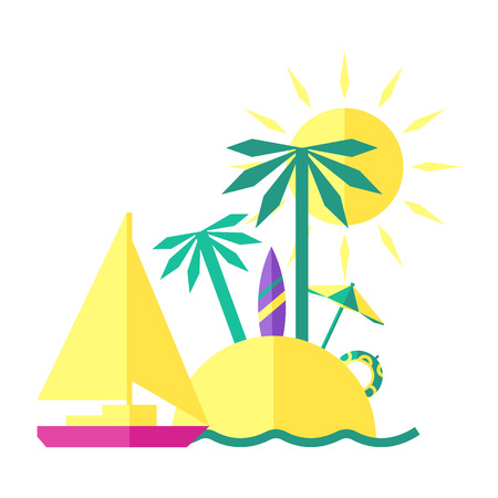 seacoast: Colored summer illustration of an Island Illustration