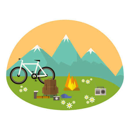 Mountains camping vector icon. There is a set of equipment for camping. The image is suitable for web and mobile apps. Illustration