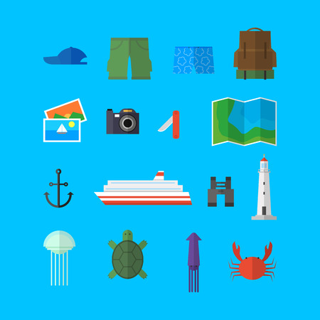 Summer objects vector set for travel and adventure with blue background.