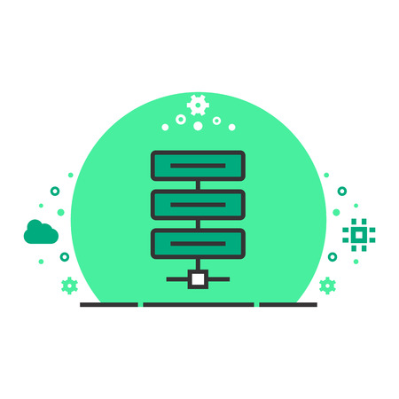 Vector icon of server. High-tech technology items. Illustration