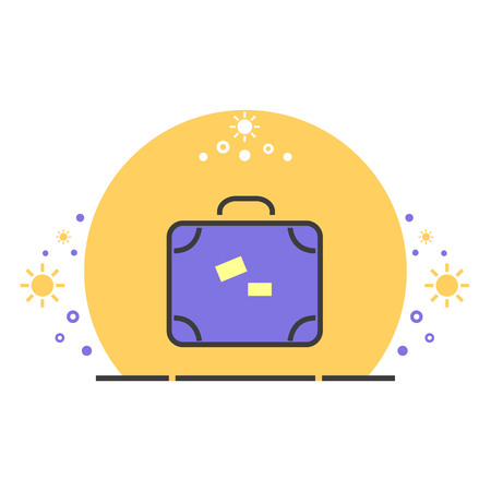 suitcase packing: Colored travel luggage vector illustration. Summer vacation icon. Illustration