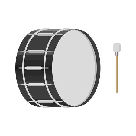 illustratie van een trommel met een drumstick op witte achtergrond. Muziekinstrumenten onderwerp.