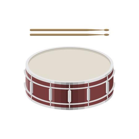 illustratie van een trommel met drumsticks op witte achtergrond. Muziekinstrumenten onderwerp.