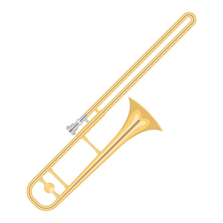 illustration of a trumpet on white background. Musical instruments topic. Illustration