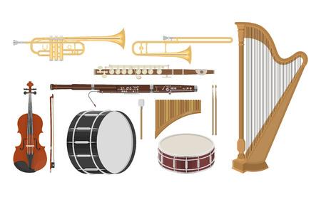 Un'illustrazione degli strumenti musicali ha impostato su una priorità bassa bianca Archivio Fotografico - 86799633