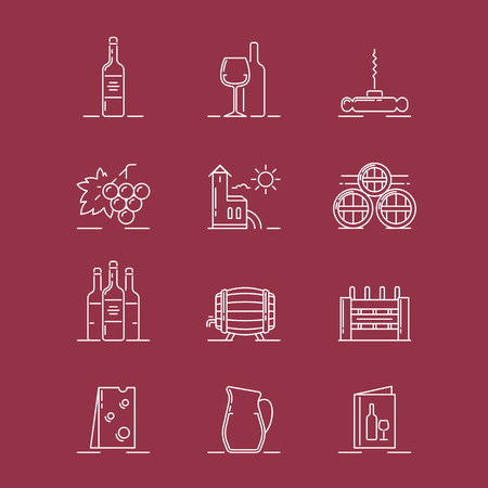 Vector illustrations set of the vinery attributes such as wine bottle, wine glasse, corkscrew, grapes, vinery building, barrels, box, cheese, ewer and menu on white background.