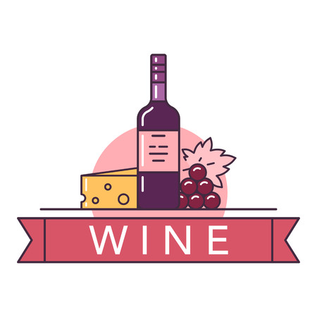Illustration of red wine bottle with cheese and grapes on white background with lettering. Vectores