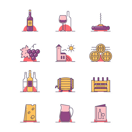 A Vector illustrations set of the vinery attributes such as wine bottle, wine glass, corkscrew, grapes, winery building, barrels, box, cheese, ewer and menu on white background. Illustration
