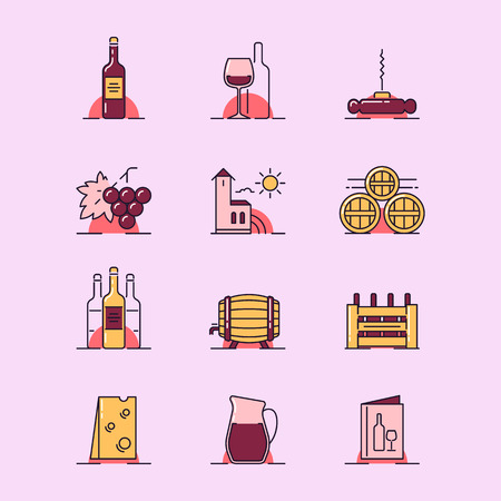 ewer: A Vector illustrations set of the vinery attributes such as wine bottle, wine glass, corkscrew, grapes, winery building, barrels, box, cheese, ewer and menu on white background. Illustration
