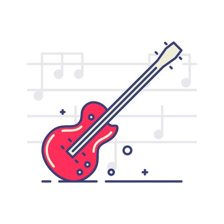 ノートと白い背景のエレク トリック ギターのベクター アイコン。楽器のトピック。