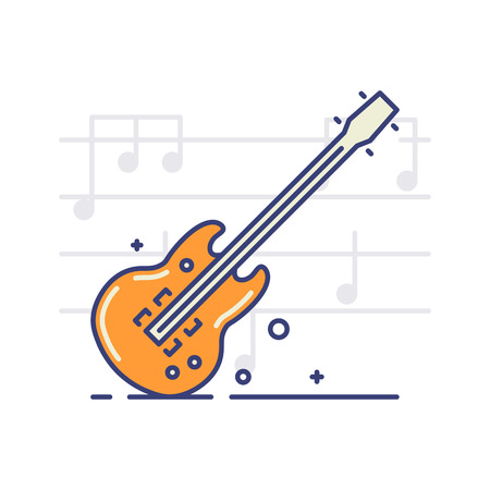 Vector icon of an electric guitar on white background with notes. Musical instruments topic.