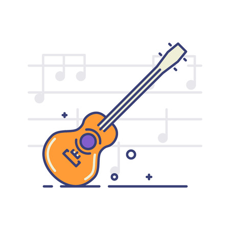 Vector icon of an acoustic guitar on white background with notes. Musical instruments topic.