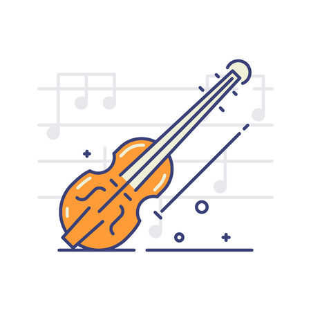 Violin vector icon on white background with notes. Musical instruments and equipment topic. Illustration