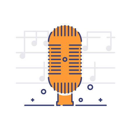 Vector icon of a microphone on white background with notes. Musical instruments and equipment topic.