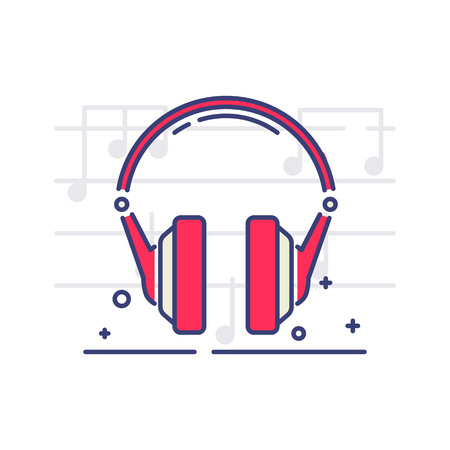 Headphones vector icon on white background with notes. Musical equipment topic. Illustration