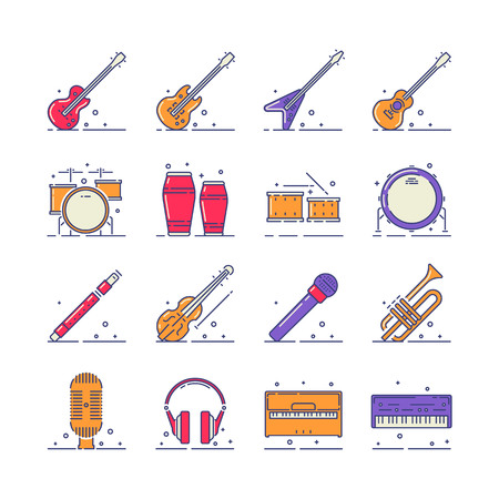 Musical instruments vector icons set on white background.