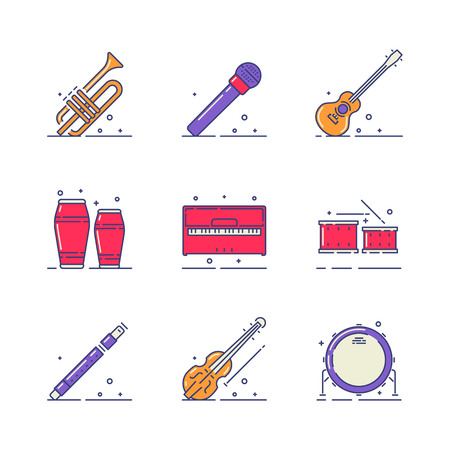 woodwind: Musical instruments vector icons set on white background.