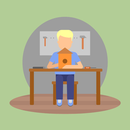 child sitting: Vector image of a pupil sitting at the desk in a school at the manual labour lesson. Illustration